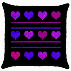 Purple and magenta harts pattern Throw Pillow Case (Black)