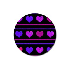 Purple and magenta harts pattern Magnet 3  (Round)