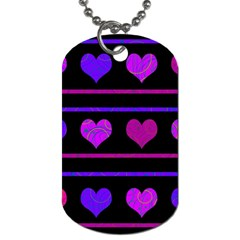 Purple and magenta harts pattern Dog Tag (One Side)