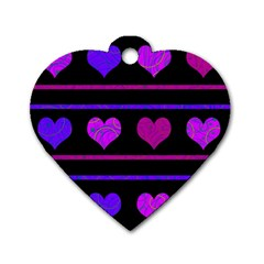 Purple and magenta harts pattern Dog Tag Heart (Two Sides)