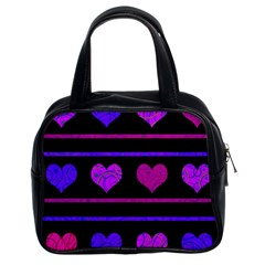 Purple and magenta harts pattern Classic Handbags (2 Sides)