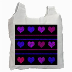 Purple and magenta harts pattern Recycle Bag (Two Side)