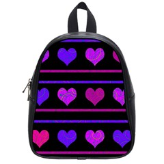 Purple and magenta harts pattern School Bags (Small)