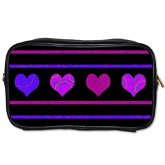 Purple and magenta harts pattern Toiletries Bags 2-Side
