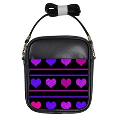 Purple and magenta harts pattern Girls Sling Bags