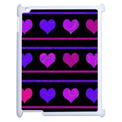 Purple and magenta harts pattern Apple iPad 2 Case (White)