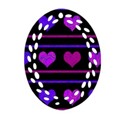 Purple and magenta harts pattern Oval Filigree Ornament (2-Side)