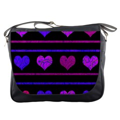 Purple And Magenta Harts Pattern Messenger Bags
