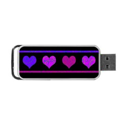 Purple and magenta harts pattern Portable USB Flash (One Side)