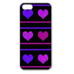 Purple and magenta harts pattern Apple Seamless iPhone 5 Case (Clear)