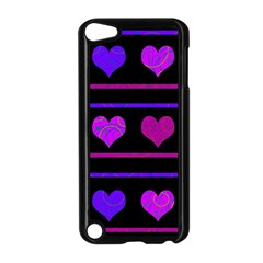 Purple and magenta harts pattern Apple iPod Touch 5 Case (Black)