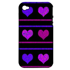 Purple and magenta harts pattern Apple iPhone 4/4S Hardshell Case (PC+Silicone)
