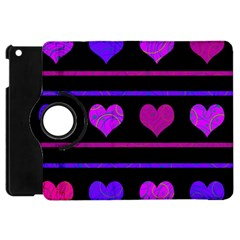 Purple and magenta harts pattern Apple iPad Mini Flip 360 Case