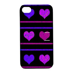 Purple and magenta harts pattern Apple iPhone 4/4S Hardshell Case with Stand