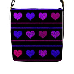 Purple and magenta harts pattern Flap Messenger Bag (L)