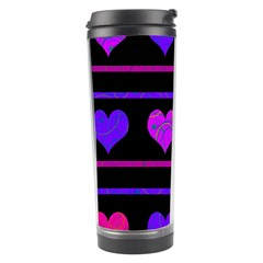 Purple and magenta harts pattern Travel Tumbler