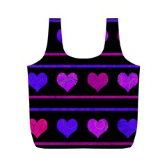 Purple and magenta harts pattern Full Print Recycle Bags (M)