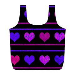 Purple and magenta harts pattern Full Print Recycle Bags (L)