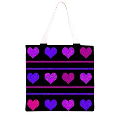 Purple and magenta harts pattern Grocery Light Tote Bag