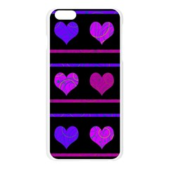 Purple and magenta harts pattern Apple Seamless iPhone 6 Plus/6S Plus Case (Transparent)
