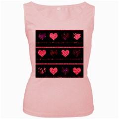 Pink elegant harts pattern Women s Pink Tank Top