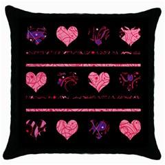 Pink elegant harts pattern Throw Pillow Case (Black)