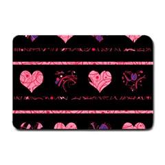 Pink elegant harts pattern Small Doormat
