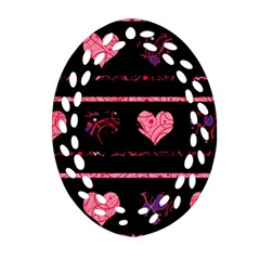 Pink elegant harts pattern Ornament (Oval Filigree)