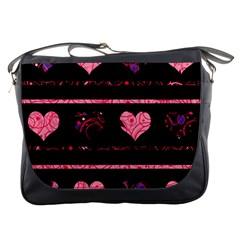 Pink Elegant Harts Pattern Messenger Bags
