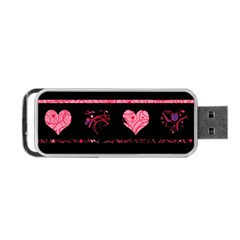 Pink elegant harts pattern Portable USB Flash (Two Sides)