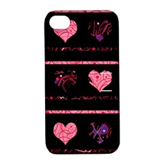Pink elegant harts pattern Apple iPhone 4/4S Hardshell Case with Stand