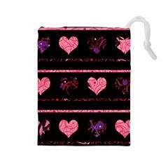 Pink elegant harts pattern Drawstring Pouches (Large)