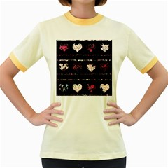 Elegant harts pattern Women s Fitted Ringer T-Shirts