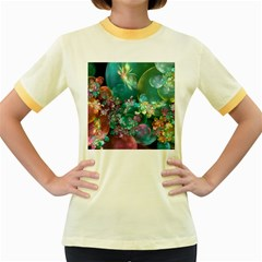 Butterflies, Bubbles, And Flowers Women s Fitted Ringer T-Shirts