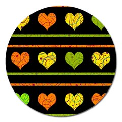 Colorful harts pattern Magnet 5  (Round)