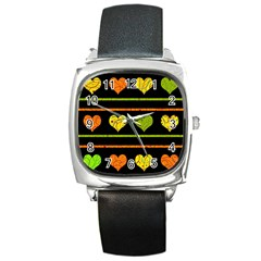 Colorful harts pattern Square Metal Watch