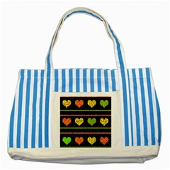 Colorful harts pattern Striped Blue Tote Bag