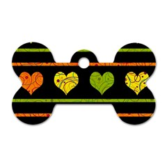 Colorful harts pattern Dog Tag Bone (Two Sides)