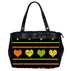Colorful harts pattern Office Handbags (2 Sides)