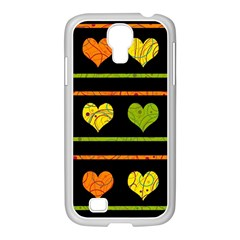 Colorful harts pattern Samsung GALAXY S4 I9500/ I9505 Case (White)