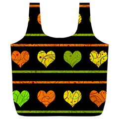 Colorful harts pattern Full Print Recycle Bags (L)