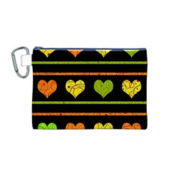 Colorful harts pattern Canvas Cosmetic Bag (M)