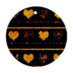 Yellow harts pattern Ornament (Round)