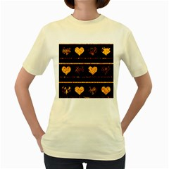 Yellow harts pattern Women s Yellow T-Shirt
