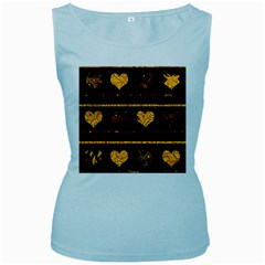 Yellow harts pattern Women s Baby Blue Tank Top
