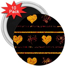 Yellow harts pattern 3  Magnets (10 pack)