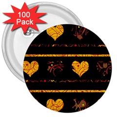 Yellow harts pattern 3  Buttons (100 pack)