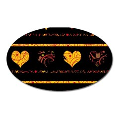 Yellow harts pattern Oval Magnet