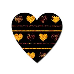 Yellow harts pattern Heart Magnet