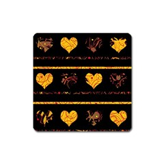 Yellow harts pattern Square Magnet